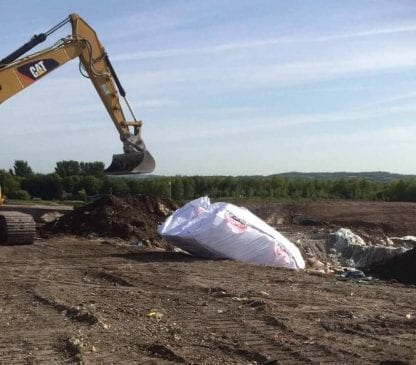 Skip Bag tipped at the landfill site